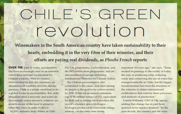 Prestigiosa revista británica destaca la revolución verde del Vino Chileno